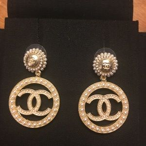 Gold and pearl Chanel dangling earrings